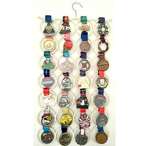 J&X Für einen Lauf gegangen Running Race Medal Display | Trophäenregal Medal Hanger | Medaillenhalter: Starker, stilvoller Medaillenständer, Medaillenhalter für Läufer, Fußball, Gymnastik (28 Ring) -