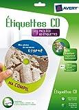 AVERY - J8676-30 - 60 étiquettes adhésives blanches pour CD. Maxi couvrantes. Impression jet d'encre