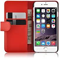 iPhone 6 / 6s Lederhülle | JAMMYLIZARD Ledertasche [ Wallet Tasche Series ] Leder Book Case Hülle Flip Cover Schutzhülle mit Kartenfach, Rot