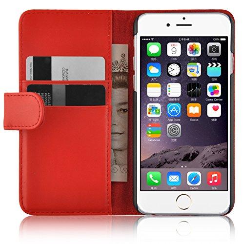 JAMMYLIZARD Lederhülle für iPhone 6 / 6s | Ledertasche [ Wallet Tasche Series ] Leder Book Case Hülle Flip Cover Schutzhülle mit Kartenfach, Rot