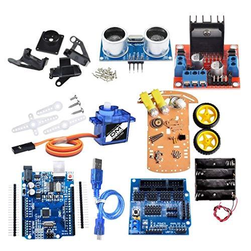 beIilan 2-Rad-intelligente Roboter-Auto Chassis Kit Geschwindigkeit Encoder Sonic Sensor-Tracking Motor Module kompatibel für Arduino-Projekt -