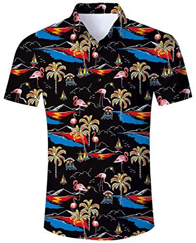 Für Erwachsene Coole Kostüm - ALISISTER Flamingo Hemd Hawaiihemd Herren Beiläufig Button Down Kurzarm Bunt Hawaii Hemd Lustig Strand Party Kleidung für Herren Erwachsene XXL