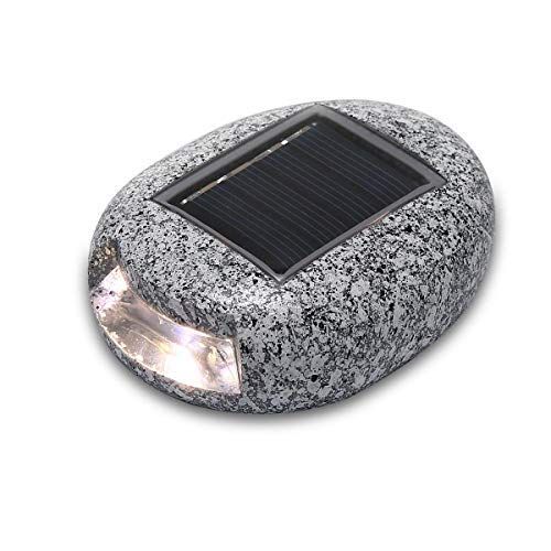 Solar Garten Lampe LED in Stein Form Beleuchtung Solar Steinleuchte Dekoration Stein-Optik