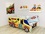 Moleo Autobett Kinderbett Juniorbett in LKW Optik mit Matratze und kleinem Kissen (140x70). Praktisches und bequemes Bett für Ihr Kind, Farbe:Fahrzeugkran Gelb