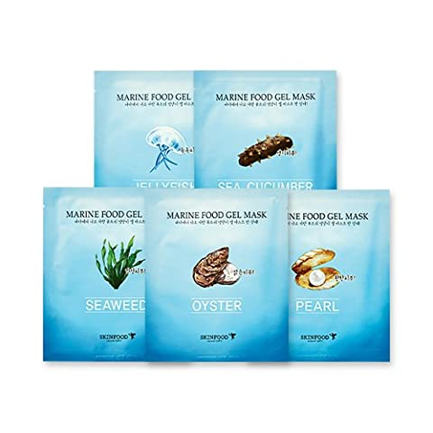 Skin Food - Marine Food Gel Mask for dry skin - 5 x Moisturising Masks with Pearl / Oyster / Seaweed / Sea Cucumber / Jelly Fish for men and woman - Moisturising & Rejuvenating