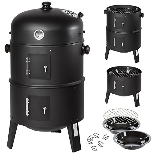 TecTake BBQ Barbacoa de carbón vegetal parrilla fumador madera 115x65x107cm  ...