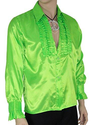 Foxxeo Grünes Rüschenhemd für Herren 70er Jahre