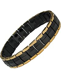 MPS® EUROPE SPECIAL PURCHASE Black and Gold Edge Links Titanium Magnetic Bracelet, Fold-Over Clasp + FREE Links Removal Tool