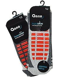 Qano 4060-5 Herren 2er Pack ABS Stopper Socken grau mit roter Stoppersohle