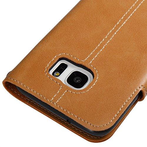 Hülle für Samsung Galaxy S7 Edge, Tasche für Samsung Galaxy S7 Edge, Case Cover für Samsung Galaxy S7 Edge, ISAKEN Farbig Blank Muster Folio PU Leder Flip Cover Brieftasche Geldbörse Wallet Case Leder Knopfe Linie Khaki