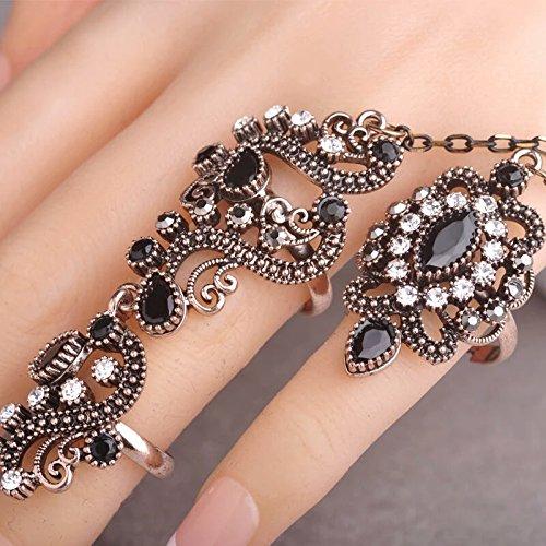 black with golden full finger double ring
