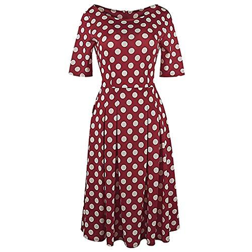 Jugendhj Vintage Patchwork-Taschen der Mode-Frauen geschwollene Schwingen-Druck-beiläufiges Party-Kleid (Kinder Geschwollene Für Lange Kleider)