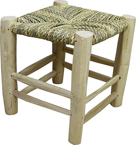 Taburete pequeño artesanal echo de cuerda y mimbre natural madera de laurel...