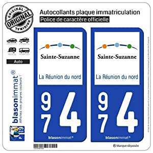 2 Autocollants de plaque d'immatriculation auto 974 Sainte-Suzanne - Tourisme