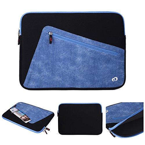 Kroo Tablet-Schutzhülle aus Neopren/Sleeve für Dell Latitude 12E5250. Vorne Reißverschluss Tasche für speicherbedarf schwarz schwarz und blau