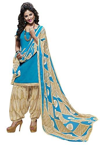Khushali Presents Cotton Patiyala Dress Material(Sky Blue,Beige,White)