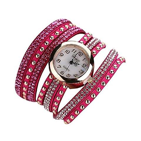 Bluester Duoya Femmes Mode Casual Bracelet Watch En Cuir Montre-Bracelet Femmes Robe (Hot Pink)