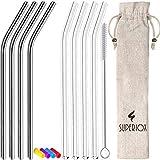 Superiox Glas-Strohhalme Wiederverwendbar handgefertig 23 X 9.5 cm Glasstrohhalme Set mit 4 Edelstahl Strohhalme, Silikonspitze, Reinigungsbürste und Behälter für die Aufbewahrung