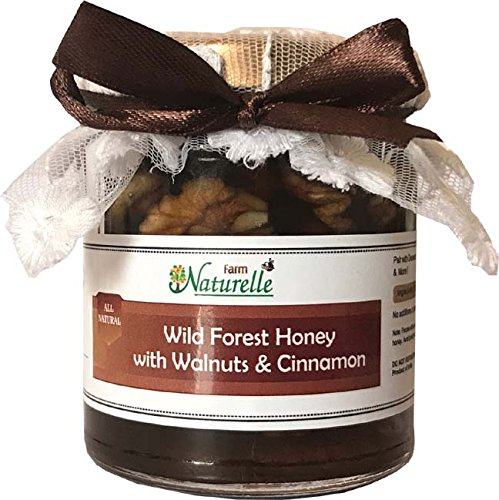 Farm Naturelle-Cinnamon Infused Pure Raw Natural Forest Honey And Walnuts-250 Gms-Diwali Health Gift Item Pack
