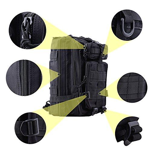 TOPQSC Military Tactical Rucksack, Modische 30L mehrere Farben Wandern Bergsteigen Biking Outdoor Military Tactical Rucksack Trekking Tasche für Reisen Wandern mit Top Qualität Schwarz