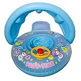 CHRRI Aufblasbarer Lenkrad-Schwimmring-Baby-Aufblasbarer Schwimmen-Floss-Sitz und Baby-Justierbarer Regenschirm,Blue