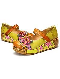 c64d57cdc3e gracosy Merceditas de cuña Zapatos de Mujer de Cuero de Verano Plataforma  de Confort Zapatos Sandalias