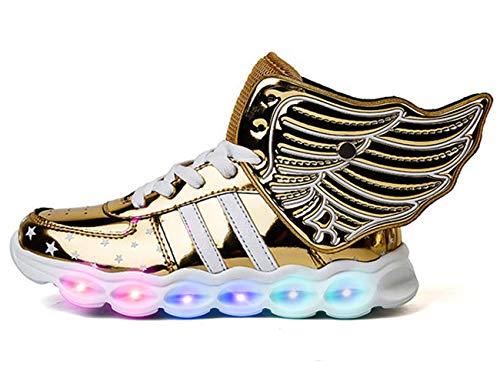 Mr.Ang LED Schuhe Kinder Damen 7 Farbe USB Aufladen Leuchtend Sportschuhe LED Kinder Farbwechsel Sneaker Turnschuhe Für 26-36