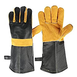 OZERO Leather Oven Gloves,Welding Heat Resistant Gloves for Fireplace,BBQ,Grill.Yellow & Black (1 Pair)