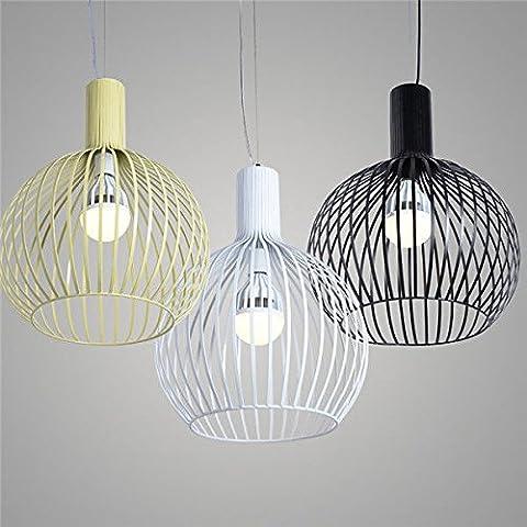 Cage à oiseaux Industrial Metal Beige Lampe lumière plafond 2005 Accueil Pendentif ,24*28cm-black