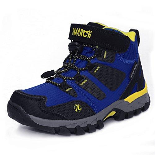Kinder Wanderschuhe Trekking Stiefel Jungen Mädchen Lace up Velcro Walking Boots Schuhe Wasserdichte Rutschfeste Kletterschuhe EU 28-35 (32 EU/21.33 cm, Königsblau)