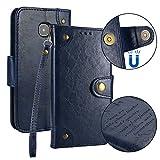 Samsung Galaxy S6 / G920 Hülle Leder Retro, Lomogo Schutzhülle Brieftasche mit Kartenfach Klappbar Magnetverschluss Stoßfest Kratzfest Handyhülle Case für Samsung Galaxy S6 - LOHHA10222 Blau