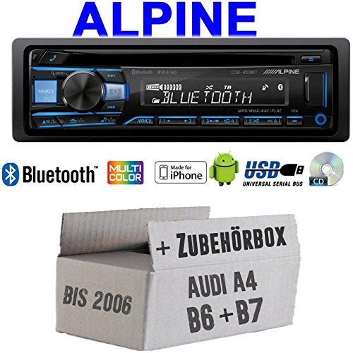 Autoradio Radio Alpine CDE-203BT Bluetooth CD USB MP3 1-DIN Auto Einbauzubehör - EINBAUSET für Audi A4 B6 B7 - JUST SOUND best choice for caraudio
