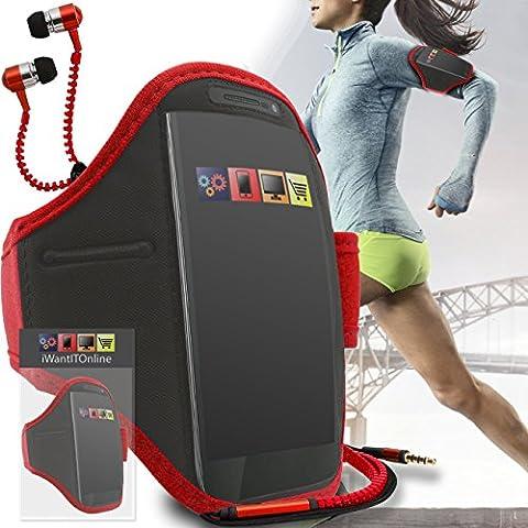 Rouge Noir GYM réglable de jogging Running ArmBand Housse de cas avec écouteurs de style Zip de 3,5 mm Pour Nokia E63