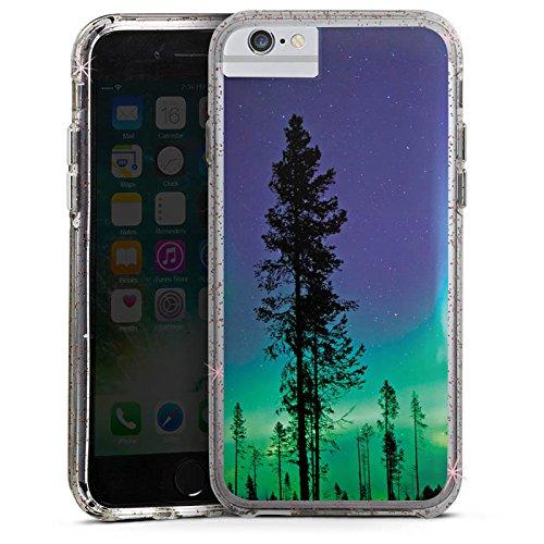 Apple iPhone 6s Plus Bumper Hülle Bumper Case Glitzer Hülle Baeume Himmel Mystisch Bumper Case Glitzer rose gold