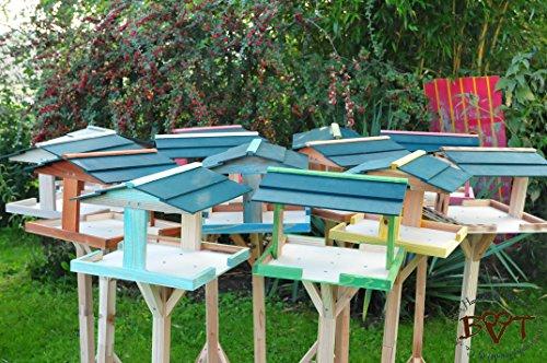 Futterhaus für Vögel,groß-XXL,DACH DUNKEL-GRÜN / Vogelhaus,wetterfest IN (TEAK) DUNKELBRAUN,BKHI-VIERDAORI-dbraun002 groß, ,Vogelhäuser+Vogelhausständer,Riesen /, MASSIV + WETTERFEST, Holz futterhaus für Vögel,MIT,Vogelfutter-Station Farbe braun dunkelbraun schokobraun rustikal klassisch,Ausführung Naturholz MIT WETTERSCHUTZ-DACH - 4