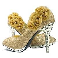 getmorebeauty المرأة روز زهرة كريستال بريق أحذية الزفاف, (ذهبي), 38 EU