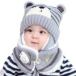 Einsgut Kindermütze Kinder Winter warme Mütze Baby Earflap Beanie Mütze mit Schal Schnitt Baby Infant Strickmütze