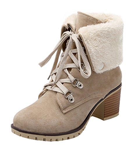 YE Damen Mitte Heel Warm Gefüttert Stiefeletten mit Fell Bequeme  Blockabsatz Schnürung und Nieten 6cm Absatz