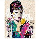 Malen Nach Zahlen Weniger Wall Decor Bilder Hand Ed Auf Leinwand Audrey Hepburn Moderne Abstrakte Öl Kein Rahmen 40X50cm