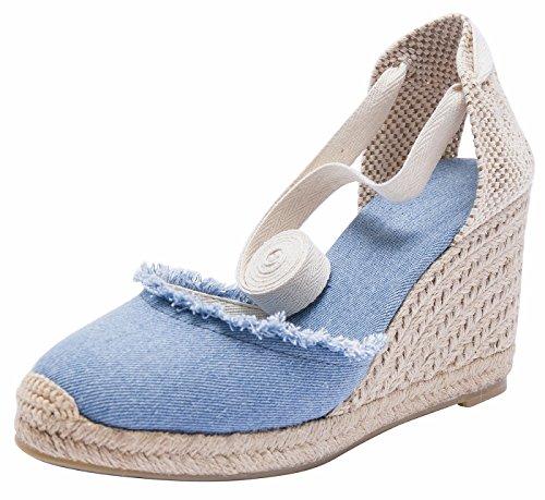 Damen Klassische Denim Keilabsatz-Espadrilles mit Bändern zum Schnüren Blau(A) 35 (Schuhe Strappy Kleid)