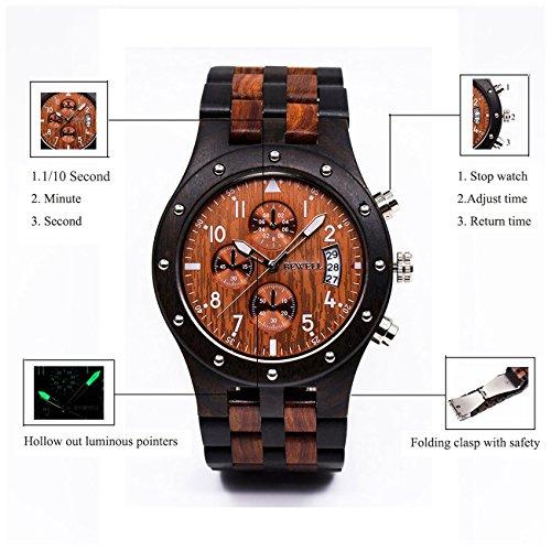 BEWELL W109D Herrenuhr Analoganzeige Japanisches Quarzwerk mit Sandelholz Uhrenarmband Kalender und Stoppuhrfunktion (Schwarzes und Rotes Sandelholz) - 4