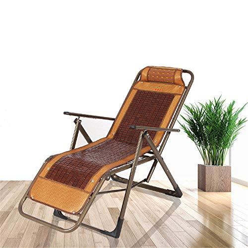 CHUDAN Outdoor tragbaren Liegestuhl Gartenstuhl Bambus Liegestuhl - Verstellbar Schaukelstuhl Strand Relax-Sonnenliege leicht zusammenklappbar belastbar bis 200 kg,A - Schaukelstuhl Gepolsterte Hocker