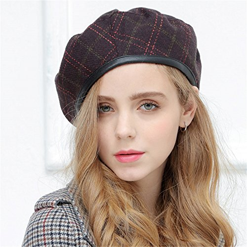 ub Geschenke Alle Frauen, die gleiches Winter bud Kinder Hut Beret Cap Plaid Wolle Maler retro lady Kürbis Hut einstellbar, einstellbare, Violett (Maler Hüte)