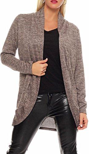 Malito Damen Strickjacke lang   Cardigan im eleganten Design   Angesagter Oversize Look - Weste - Jacke 5021 (Fango)
