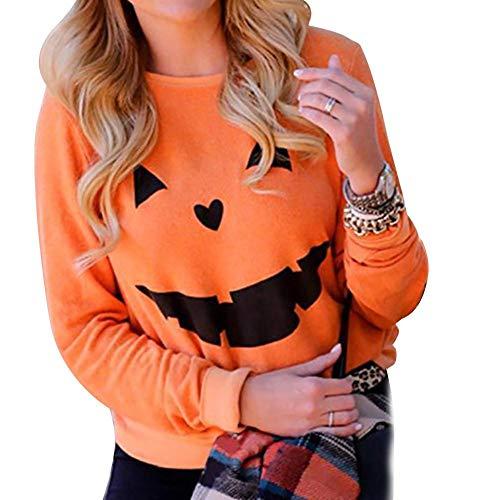 Miss-an Langarm Pullover,Halloween Kürbis Smiley Blumendruck Pullover Langarm Base Fleece Pullover Base-orange-fleece