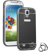 Semoss Premium Espejo Funda Aluminio Carcasa Case para Samsung Galaxy S4 i9500 i9505 Ultra Thin Mirror Efecto Metal Bumper Hardcase Shell Cover - Negro