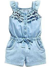 ARAUS Mono Pantalones De Elástico Muchacha de la Vida para Niña con Bownot Verano, 0-5 Años