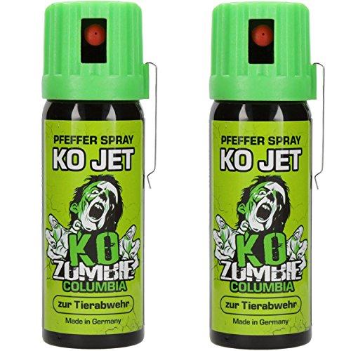 Columbia KO Jet Verteidigungsspray 2x im Set KO Zombie Pfefferspray mit Gürtelclip je 50 ml Tier Abwehrspray -