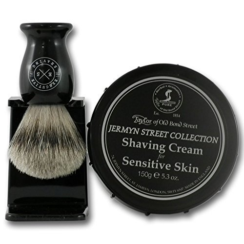 Jermyn Street Sensitive Skin Shaving Cream 150g Tub and Super Badger Hair Brush Set by ESC