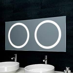 lux aqua badezimmerspiegel f r doppelwaschtisch mit beleuchtung 120x55cm mf5120 baumarkt. Black Bedroom Furniture Sets. Home Design Ideas
